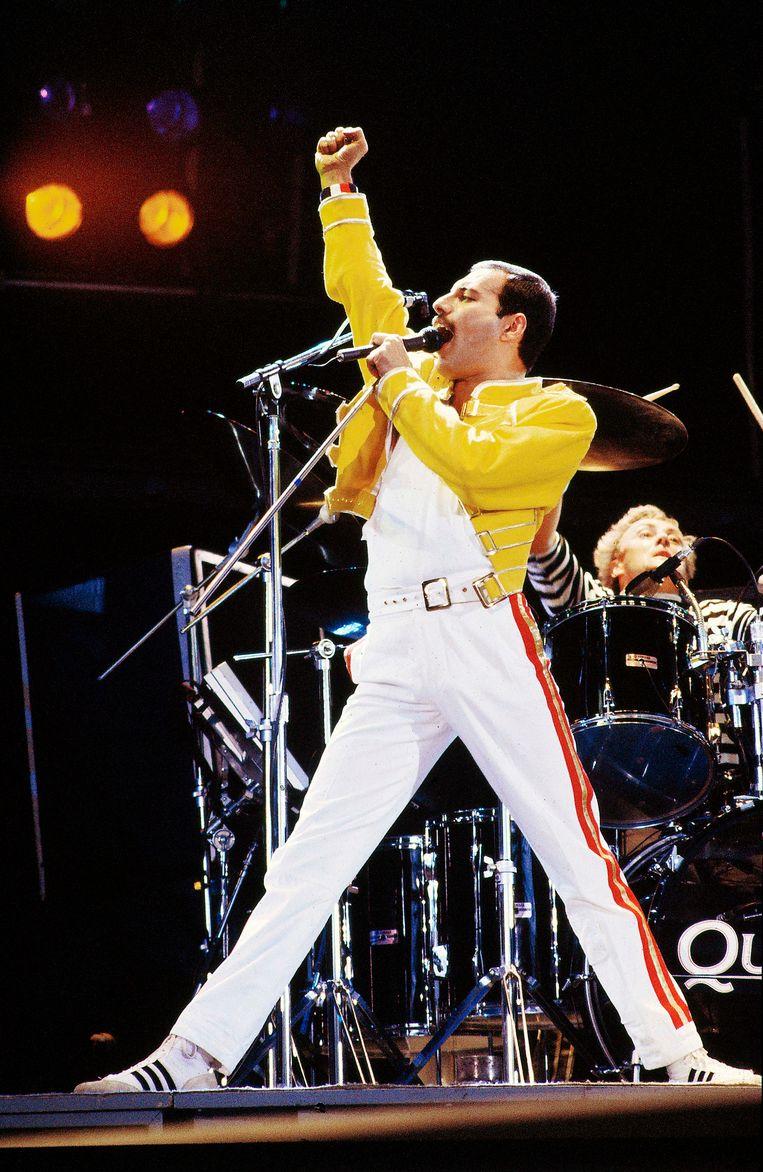 Freddie Mercury in 1986 in Knebworth, Engeland. Beeld Getty