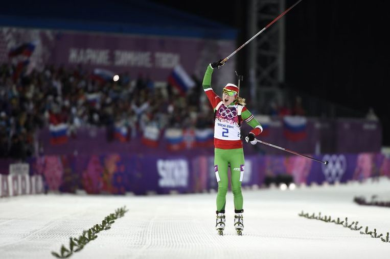 Darja Domratsjeva wint de massastart Beeld afp