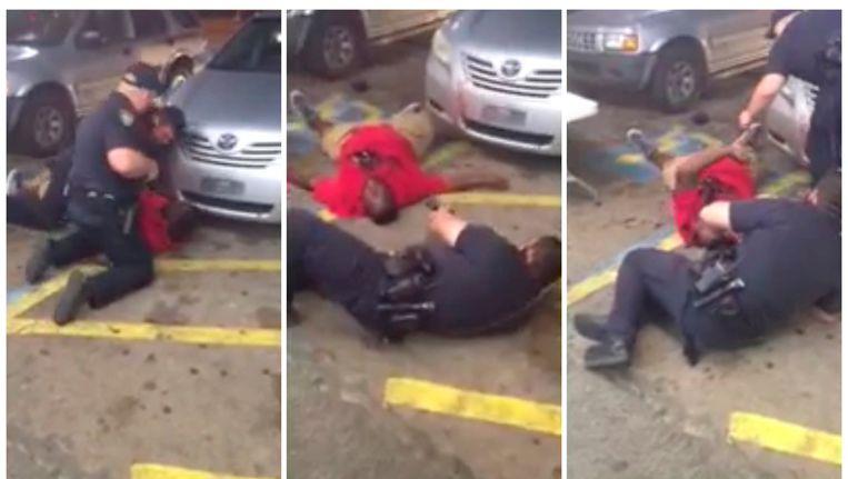 Politieagenten schieten dinsdag straathandelaar Alton Sterling (37) dood in Baton Rouge. Beeld null