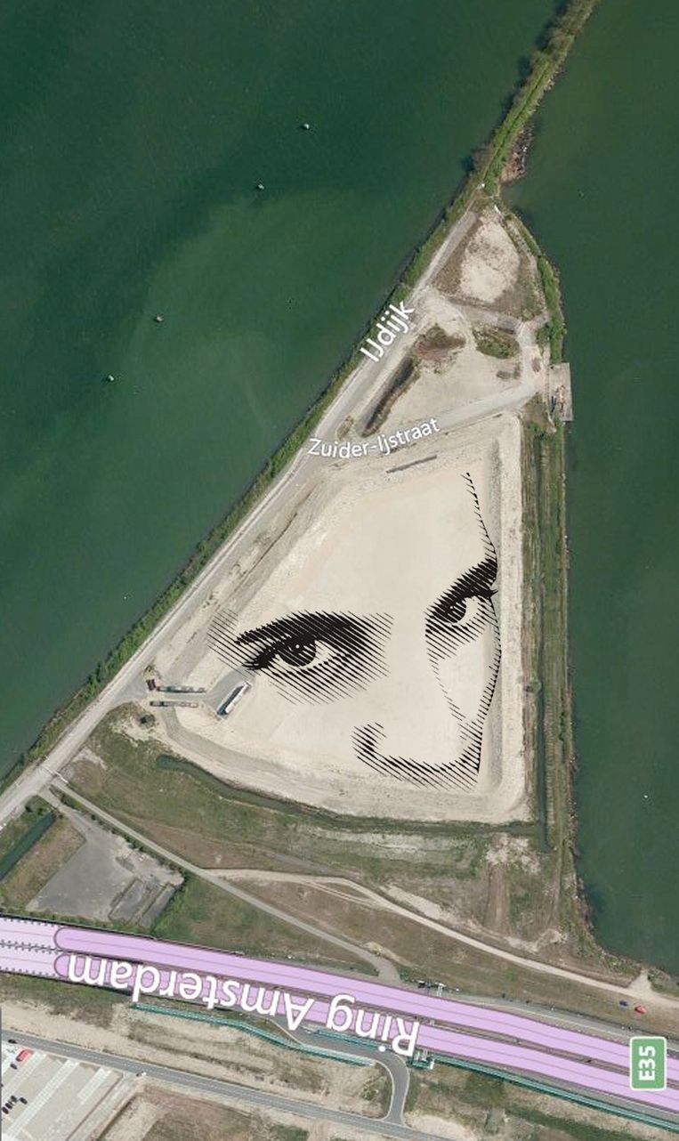 Een montage van het portret zoals dit er straks vanuit de lucht uitziet. Beeld Pancho Espinoza
