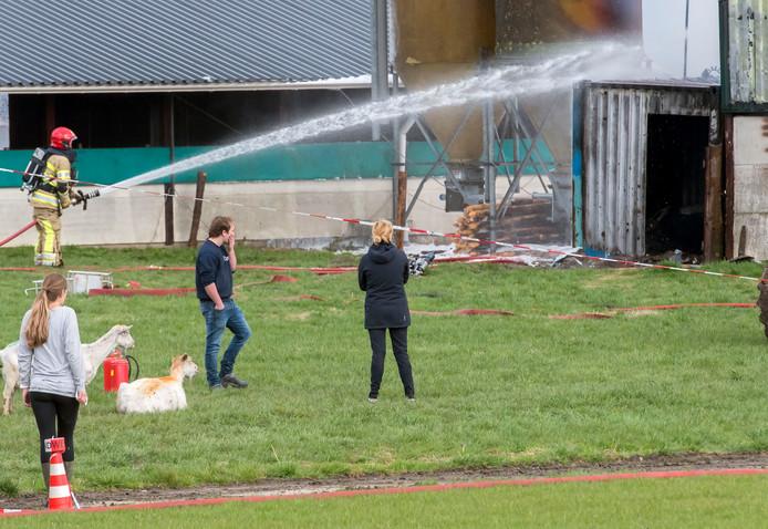 Omwonenden en wat geredde geiten kijken toe hoe de brandweer de stalbrand blust. Bij de brand kwamen meer dan honderd geiten om het leven.