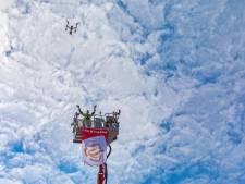 Drone filmt coronawens van brandweer Breda