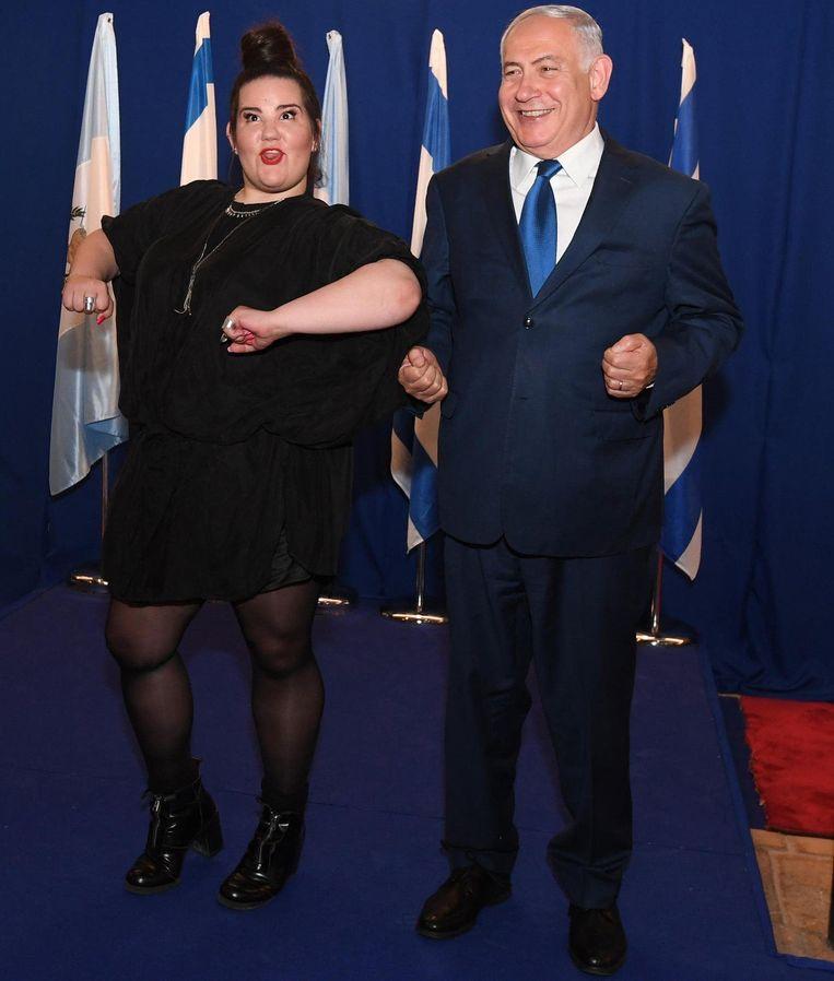 Gisteren ontving Netanjahu de songfestivalwinnares Netta.