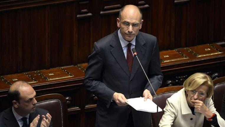 De nieuwe Italiaanse premier Letta tijdens zijn speech Beeld afp