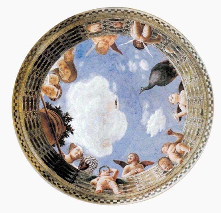 Detail van een gewelf in het Palazzo Ducale te Mantua, geschilderd tussen 1465 en 1474 door Andrea Mantegna. (Trouw) Beeld
