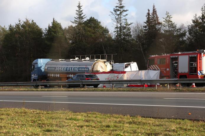 De A1 bij Rijssen na het ernstige ongeval.