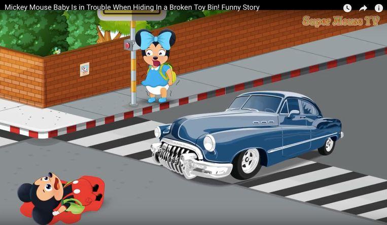 Luguber fragment in een vreemd filmpje met nep-Mickey. Beeld YouTube
