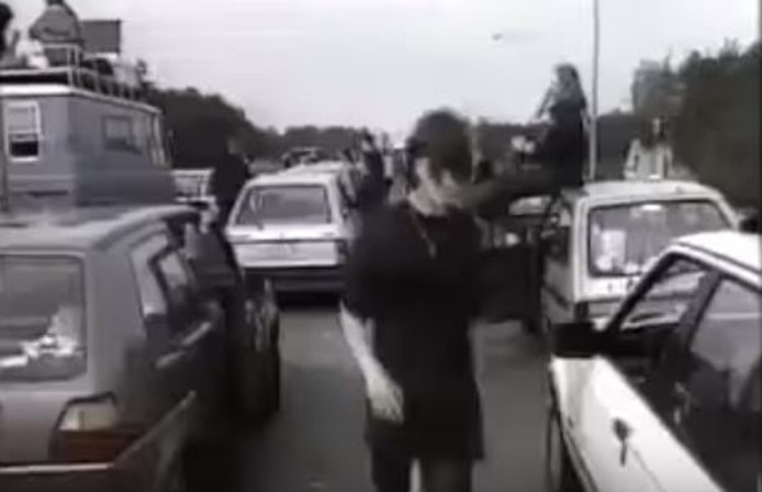 Files vanaf de Duitse grens voor festival Dynamo Open Air in Eindhoven in 1994.