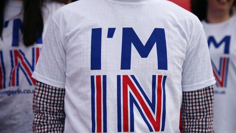 Een student van de Universiteit van Exeter tijdens een campagne tegen de Brexit. Beeld photo_news