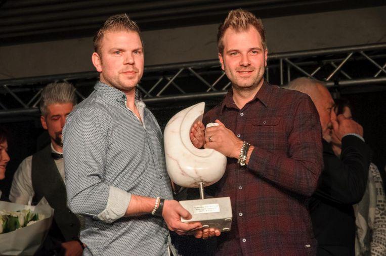 Paskal Teugels en Niels Albert mochten de zevende trofee voor 'Beste startende ondernemer' in ontvangst nemen.