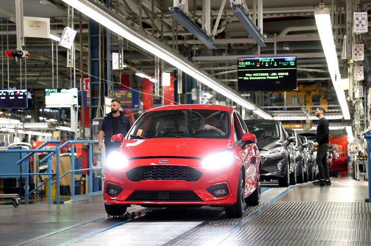 Een Ford Fiesta in de fabriek in Keulen.