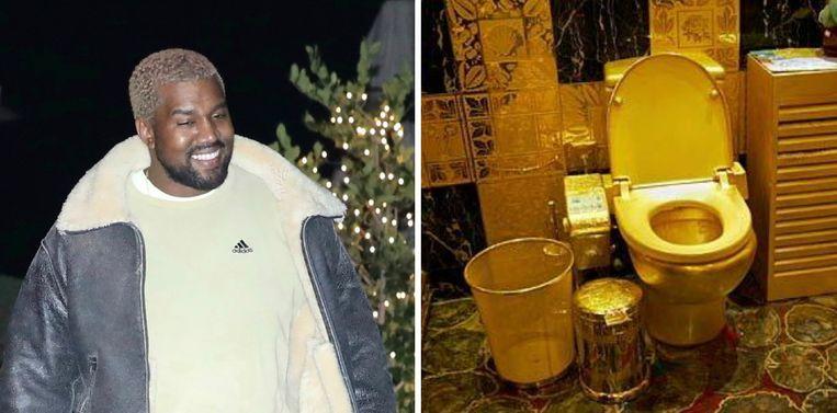 Kanye West liet vier vergulde wc's plaatsen. Rechts: een soortgelijk exemplaar, ontworpen door The Hang Fung Gold Technology Group.