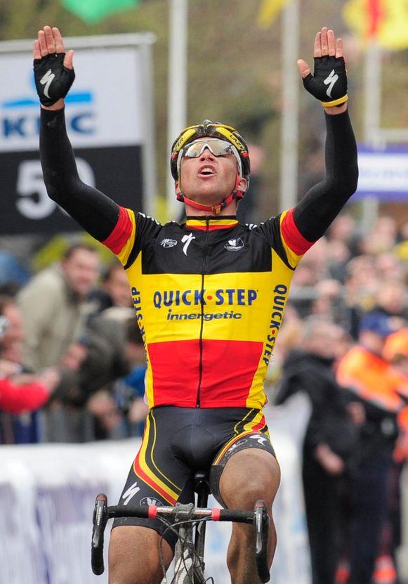 """Als Belgisch kampioen wint Devolder in 2008 de Ronde van Vlaanderen, zijn eerste van twee triomfen in Meerbeke. """"Het absolute hoogtepunt."""""""
