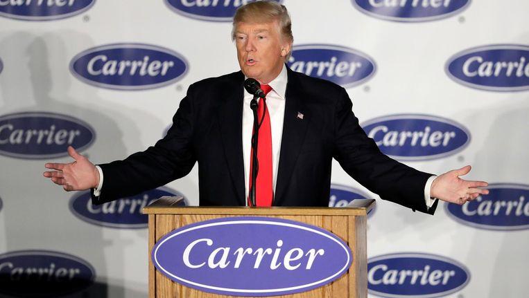 Trump spreekt bij Carrier Beeld ap