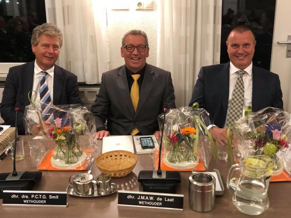 De drie wethouders van Oisterwijk (vlnr) bij hun aantreden in mei: Peter Smit (Algemeen Belang), Jan de Laat (PrO) en Dion Dankers (PGB).
