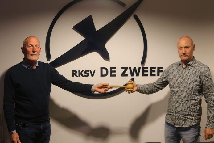 Richard Benneker (links0 volgt Erik Heuver op als voorzitter van de Nijverdalse voetbalclub De Zweef.