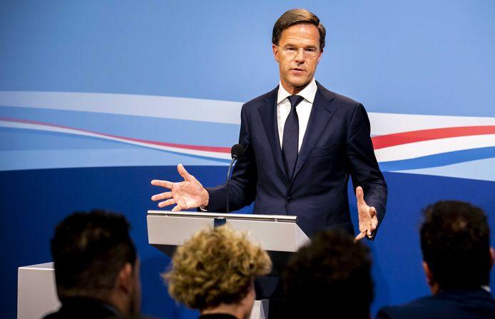 Premier Mark Rutte tijdens zijn persconferentie na afloop van de wekelijkse ministerraad.
