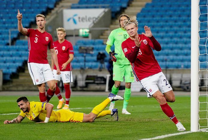 Erling Braut Haaland was vorige maand tegen Roemenie drie keer trefzeker namens Noorwegen.