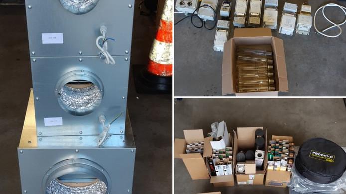 Een deel van de kweekspullen die de politie aantrof bij het bedrijf aan de Popovstraat in Zwolle.