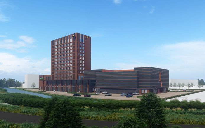 Meer dan honderdvijftig kamers verspreid over dertien verdiepingen, zeven conferentiezalen, een casino en een bioscoop telt het hotel op Gorinchem-Oost straks.