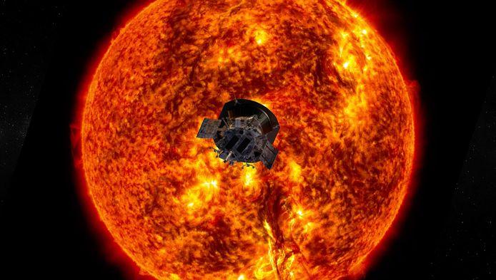 Een artistieke impressie van Parker en de zon voor zijn lancering.