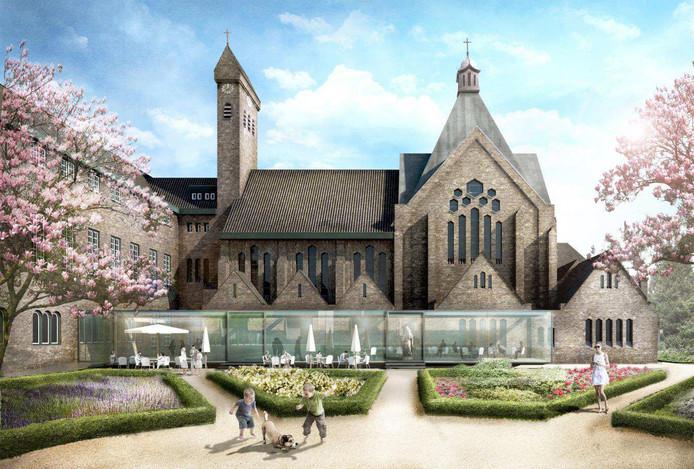 Een artist's impression van BVR voor het klooster en de tuin. Het kloostergebouw gaat vanaf eind dit jaar dienen als tijdelijk stadskantoor als het huidige gebouw aan Stadserf gerenoveerd wordt.