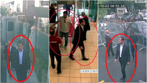 Op bewakingscamera's zie je Mutreb in de Turkse luchthaven, even later komt hij aan bij het Saudisch consulaat.