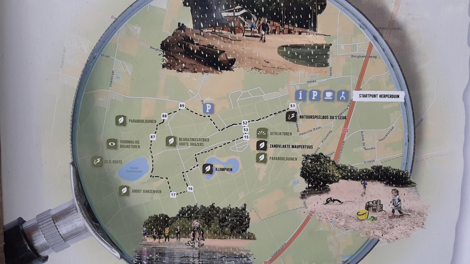 Detail van het informatiebord bij de hoofdentree van Herperduin.