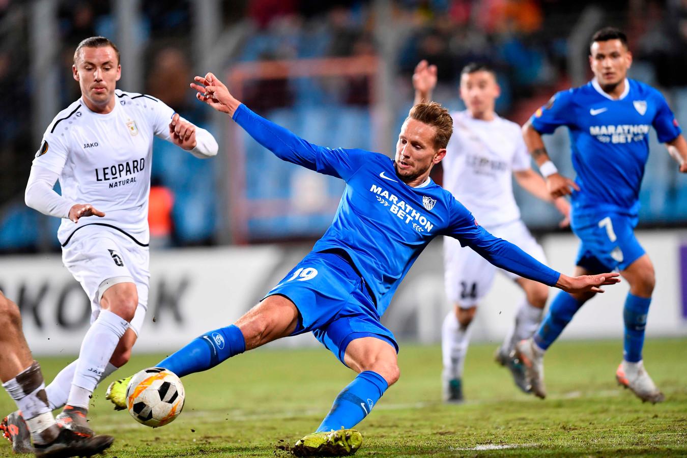 Luuk De Jong kwam als invaller in het veld bij Sevilla, maar scoorde niet.