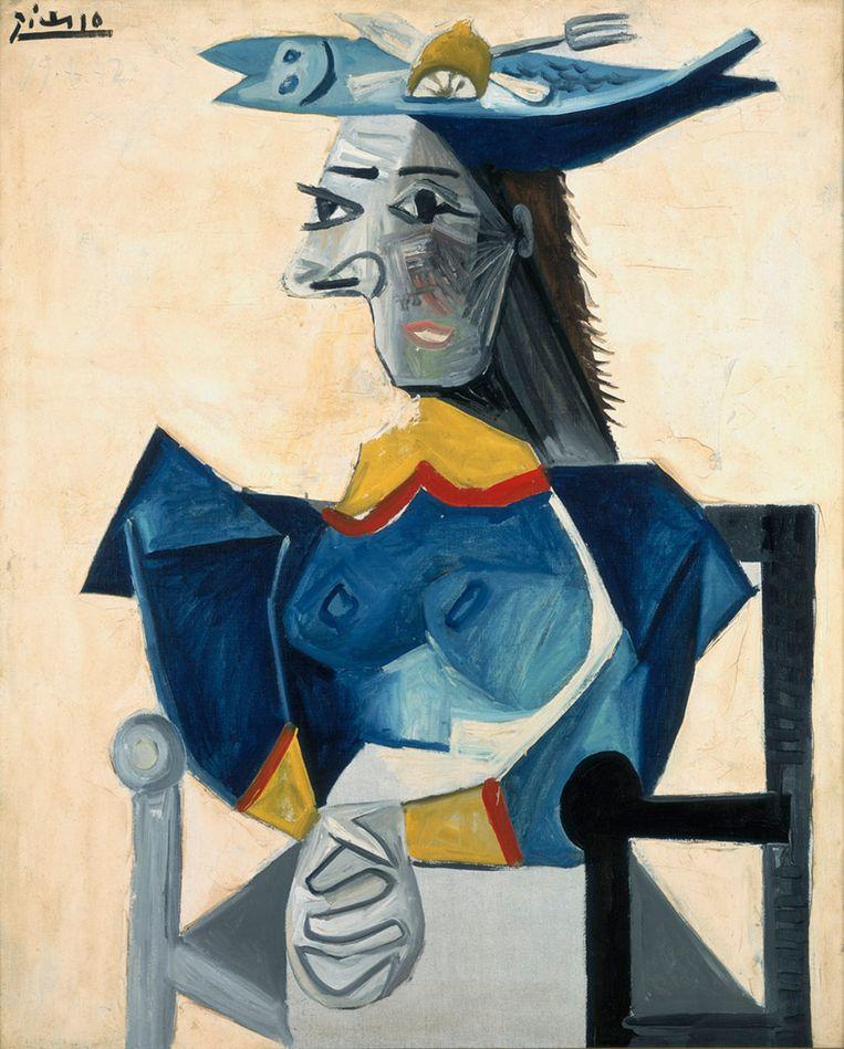 Pablo Picasso, Zittende vrouw met vishoed (1942). Beeld Collectie Stedelijk Museum Amsterdam.