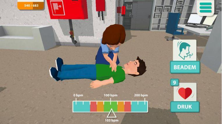 Een beeldje uit de game: hoe moet ik reanimeren?