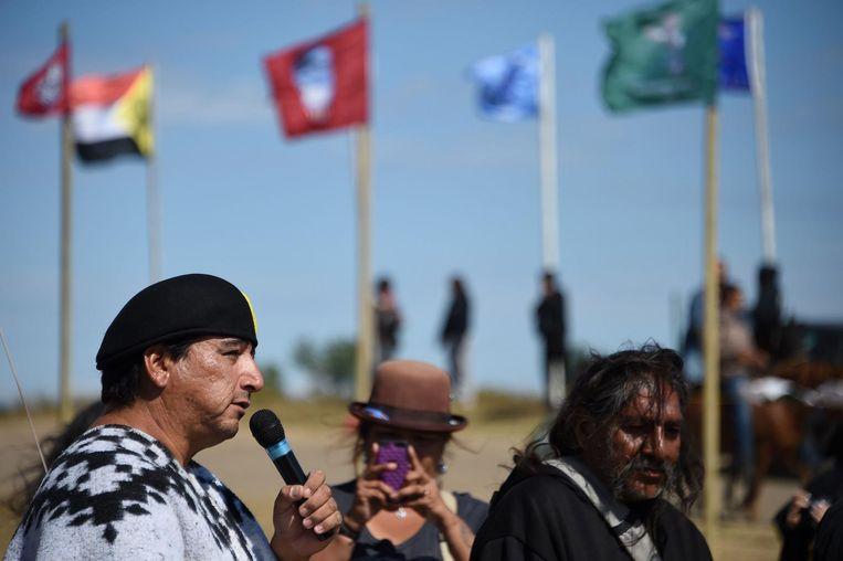 Sioux-indianen protesteren tegen de oliepijplijn bij Cannon Ball, North Dakota op 3 september 2016. Beeld afp