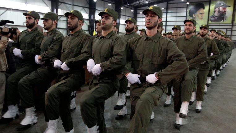 Hezbollah-strijders in Beiroet. Beeld ap