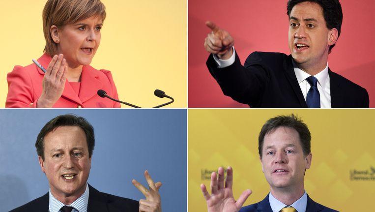 SNP-leider Nicola Sturgeon, Labour-leider Ed Miliband, premier David Cameron van de Conservatieve Partij en leider van de Liberaal-Democraten Nick Clegg. Beeld afp