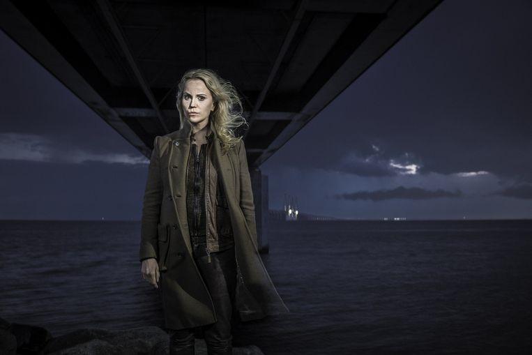 Actrice Sofia Helin is inspecteur Saga Norén in de tv-serie The Bridge: 'Ik denk niet dat Saga in het echt ook bij de recherche zou kunnen werken'. Beeld Baldur Bragason