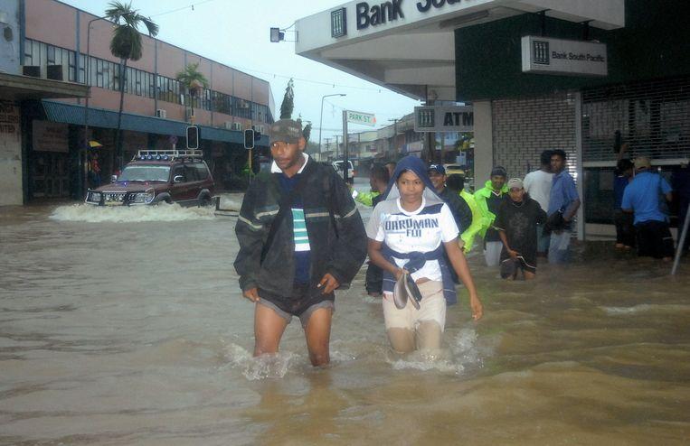 Foto uit 2009 toen de stad Nadi eveneens werd geteisterd door een storm met zware overstromingen en doden tot gevolg.