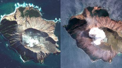 Satellietbeelden tonen verwoesting na vulkaanuitbarsting Nieuw-Zeeland