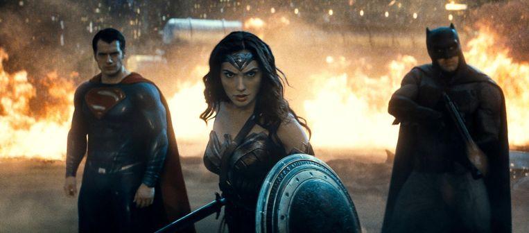 Henry Cavill als Superman, Gal Gadot als Wonder Woman en Christian Bale als Batman. Beeld ap