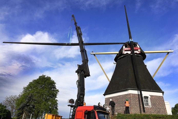 De Mariamolen in Haps wordt ontdaan van zijn roeden.