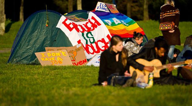 Occupy-activisten op het Malieveld in Den Haag. Foto ANP