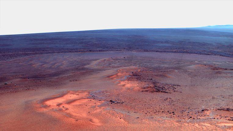Opportunity nam in 2012 deze foto van het Marsoppervlak. Beeld afp