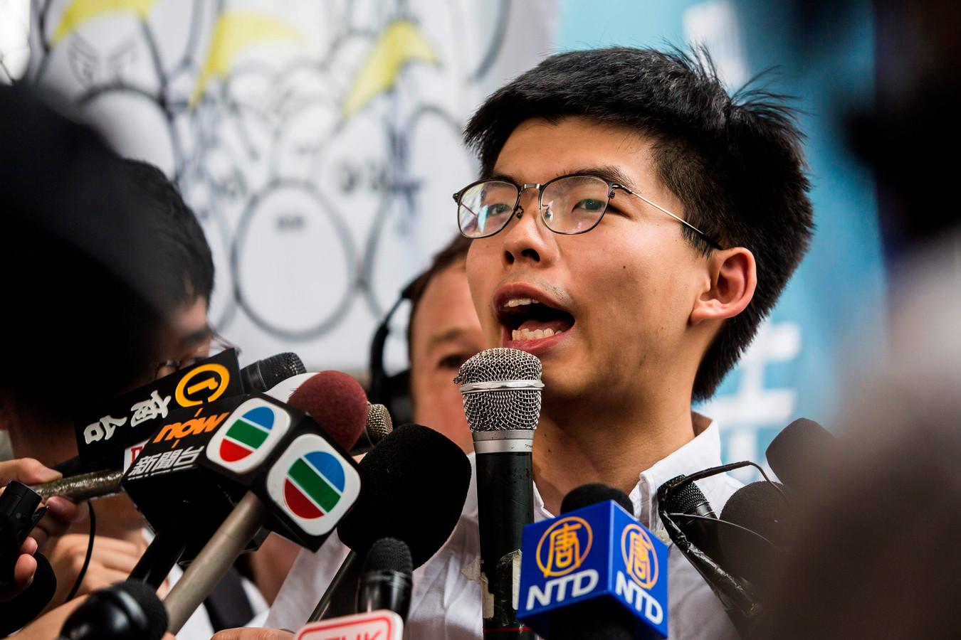 Activist Joshua Wong roept Carrie Lam op te vertrekken.