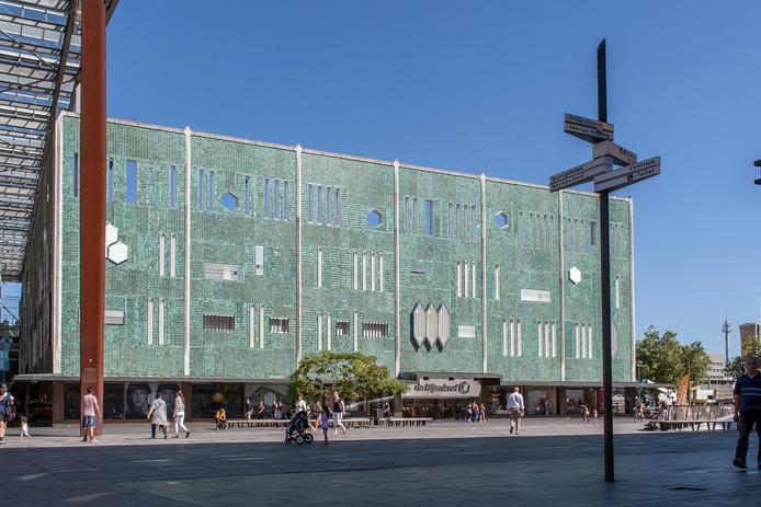 Archieffoto van het 18 Septemberplein en de Bijenkorf in Eindhoven.
