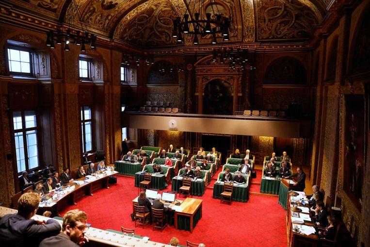 De Eerste Kamer bij de APB met links Rutte II. Beeld ANP