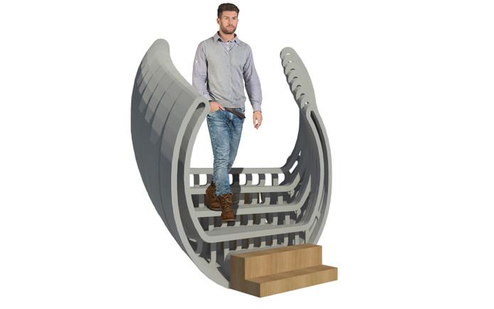 Impressie van de betonnen trap die Bierman Henket architecten ontwikkelde in samenwerking met de TU/e