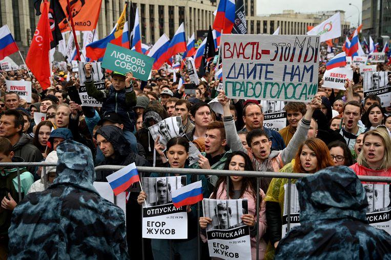 Protest van de oppositie op 10 augustus.  Beeld Yuri Kozyrev