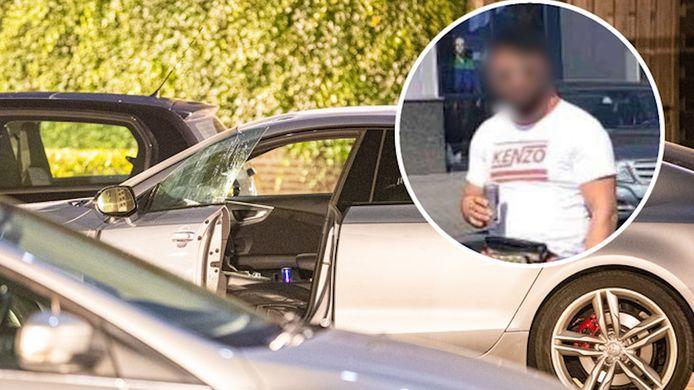 Idris (inzet) werd in zijn zilverkleurige Audi onder vuur genomen in de Zwolse wijk Stadshagen. Donderdag staat hij zelf voor de rechter op verdenking van een moordpoging in 2016 en een nooit uitgevoerde huurmoord in 2019.