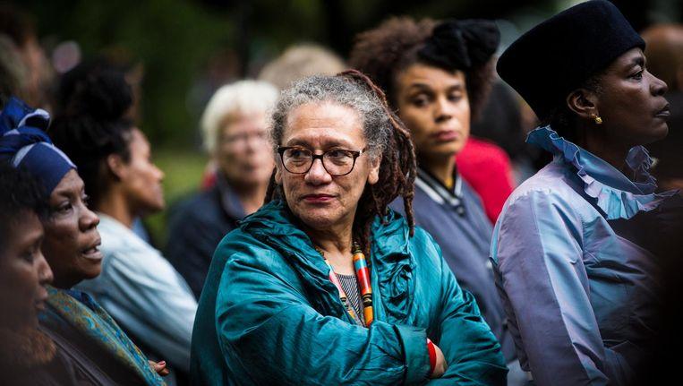 Prof. dr. Gloria Wekker (1950, Paramaribo) is sociaal en cultureel antropoloog gespecialiseerd in onder andere Gender en Afro-American Studies Beeld Maarten Brante
