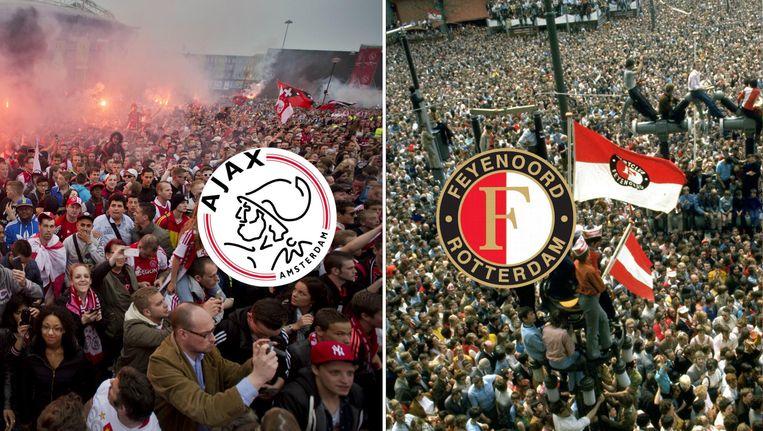 Wordt het zondag toch nog feest in Amsterdam? Of zal de Coolsingel in Rotterdam na 18 jaar weer het toneel worden van een huldiging van Feyenoord? Beeld ANP/Het Parool