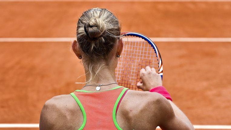 Arantxa Rus op Roland Garros tijdens haar partij tegen Kim Clijsters. Beeld anp